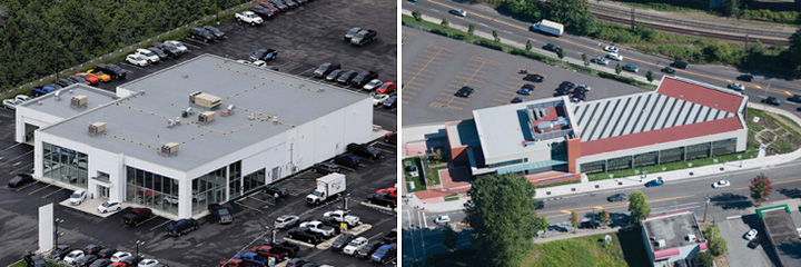 commercial buildings' flat roofs