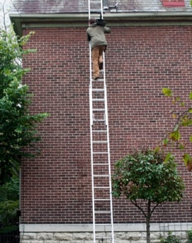 roofing with maximum load on ladder
