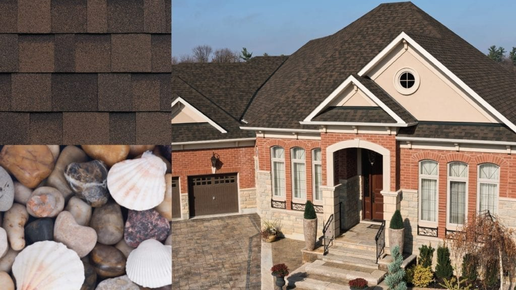 montage of shells and rocks, a house and shingles
