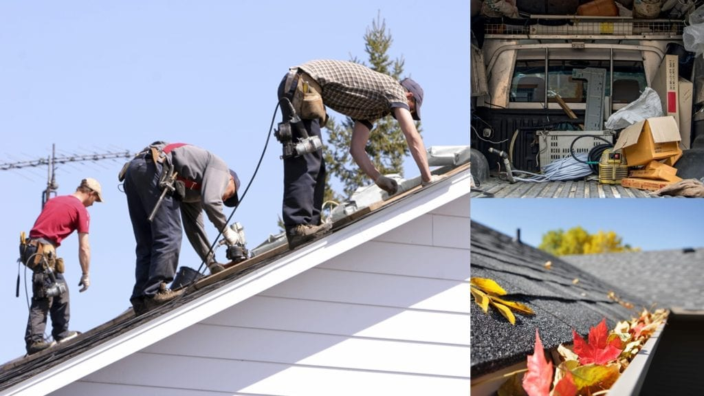 montage of roofers working on a roof, their truck, and leaves in a gutter