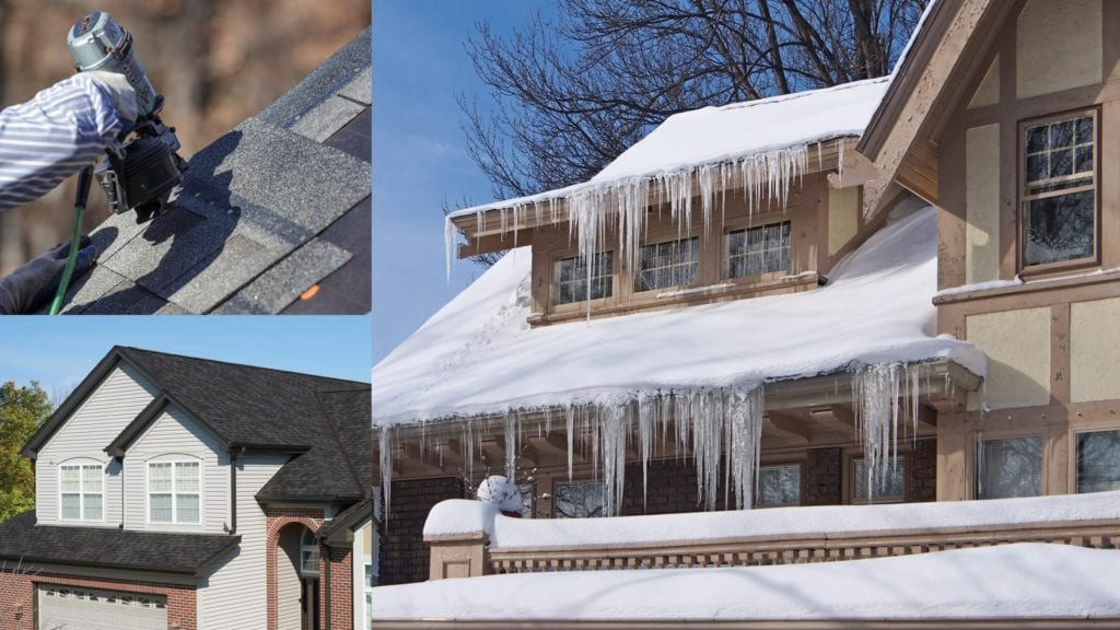 montage of a house in summer, a house in winter, and shingle installation with a nail gun