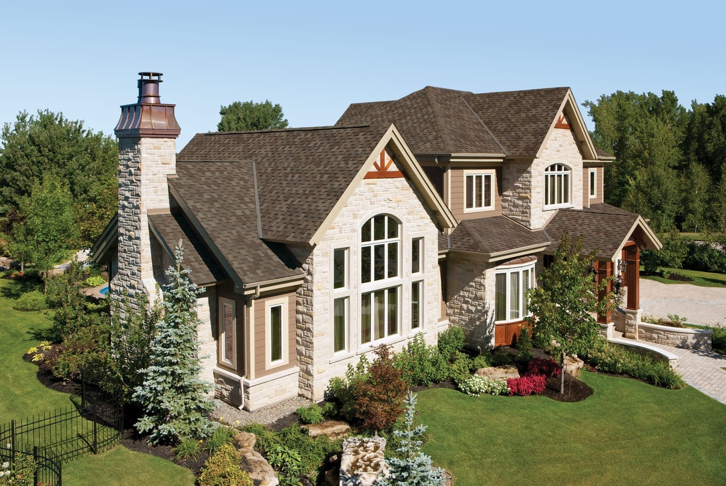 Asphalt shingle colors to match brown houses include grey, brown, black, green and possibly blue