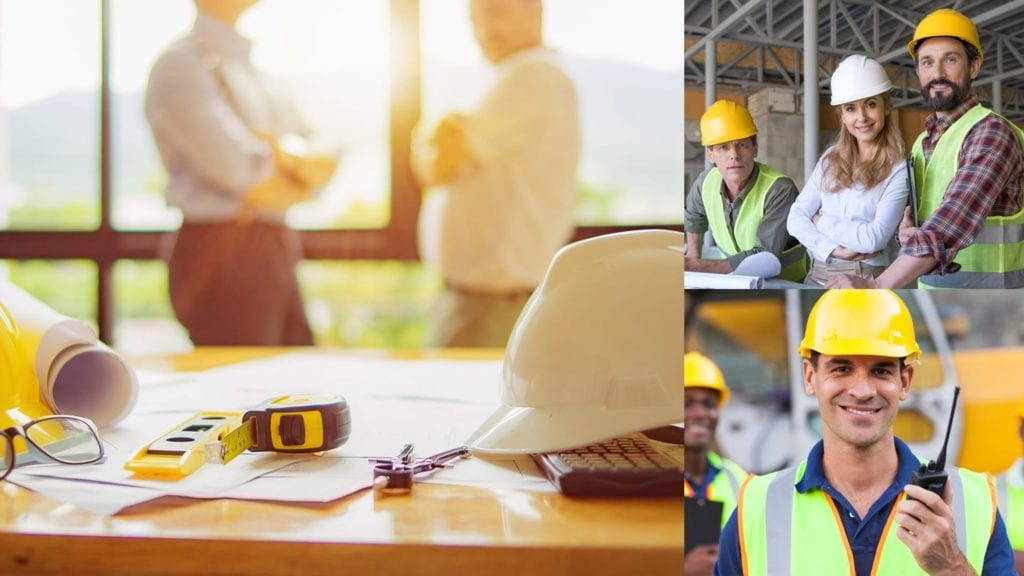 montage of various people involved in the construction business