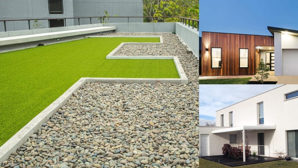 montage of buildings with flat roofs