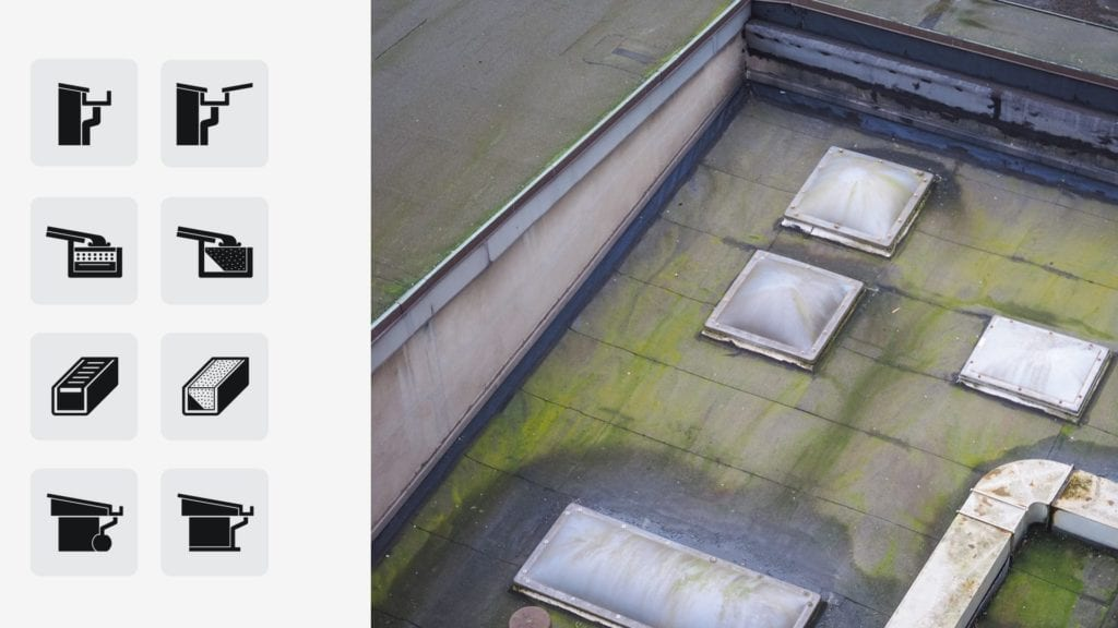 water on flat roof with skylights - aerial view