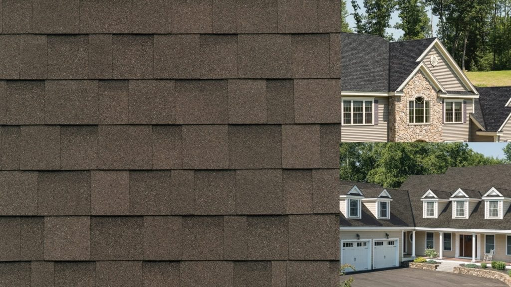 montage of shingle swatch and two houses