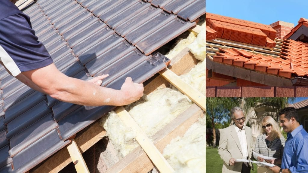 montage of tile roofs