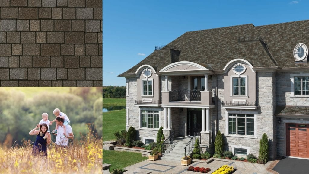 grey stone house with grey roofing shingles