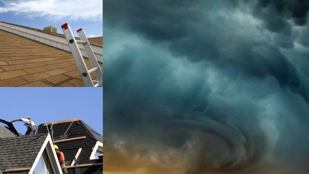montage of storm clouds and roof work