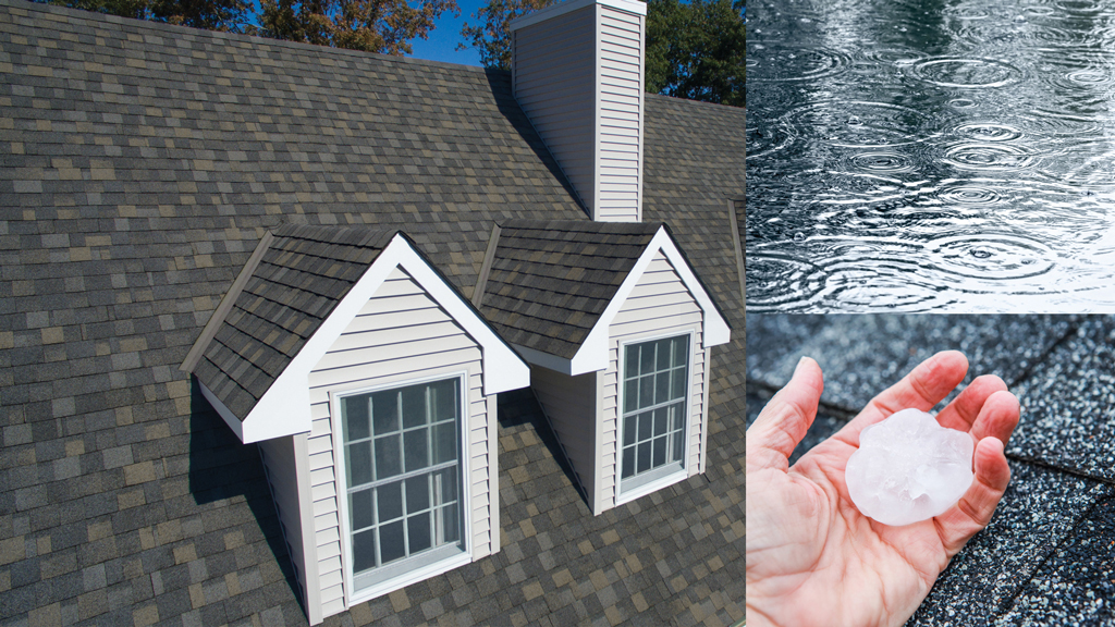 montage of a house with 2 dormers, a hailstone, rain in a puddle