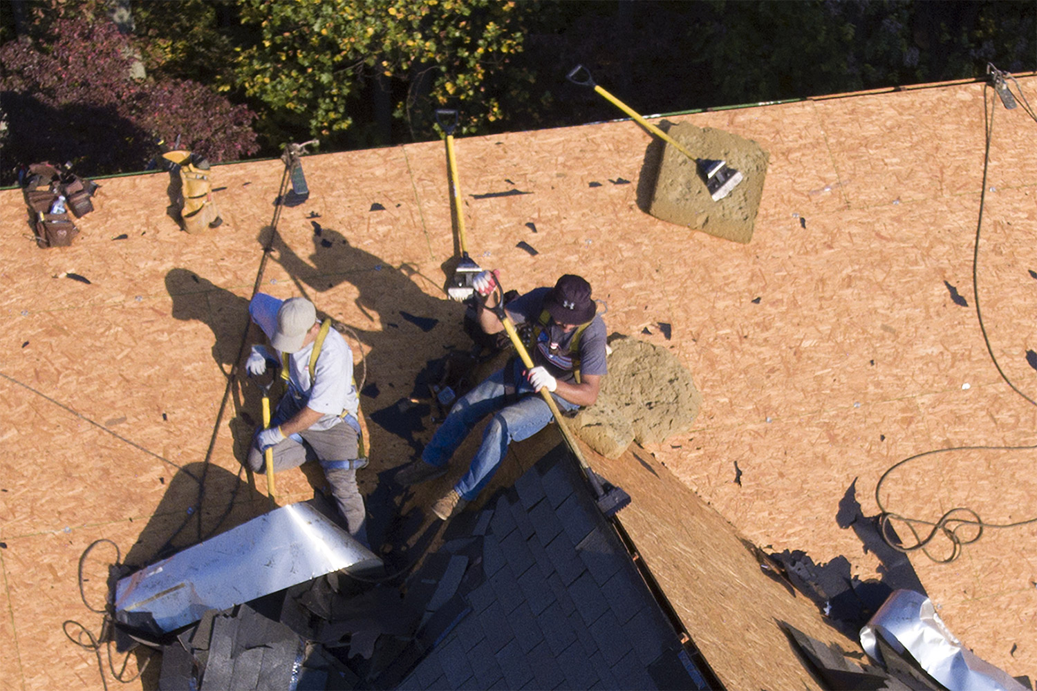 roofers using roof-stripping shovel tool to tear shingles off roof
