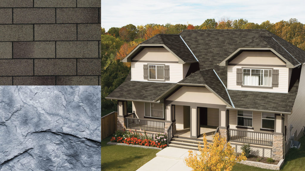 montage of a house, stone, and shingles