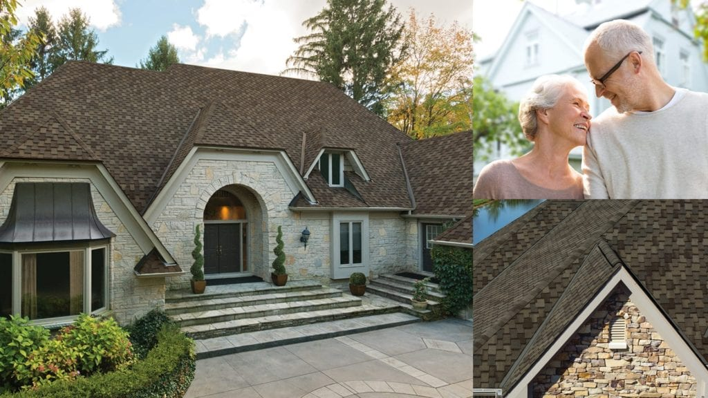 montage of shingled roofs and couple