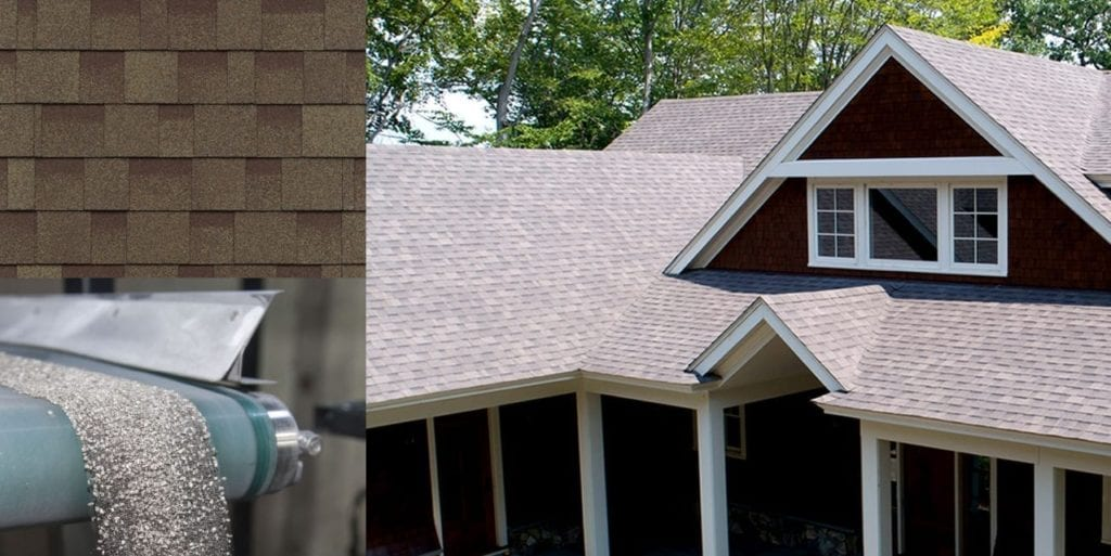 montage of a house, shingles, and granules falling off a conveyor