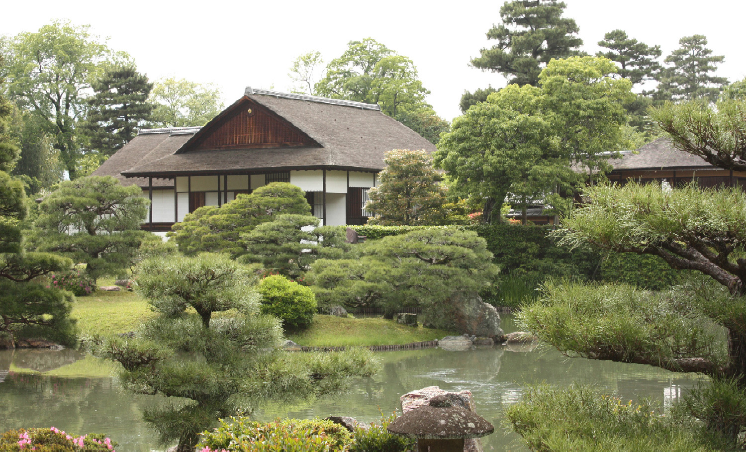 house with zen meditation garden