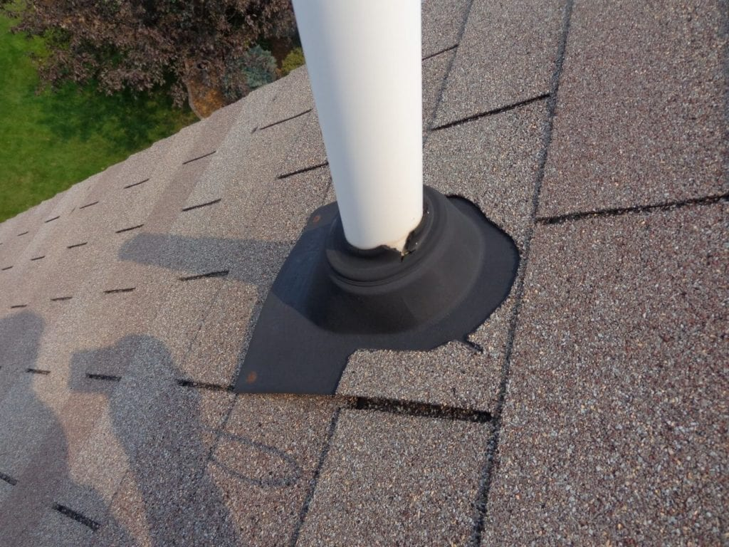 old roof plumbing vent flashing boot