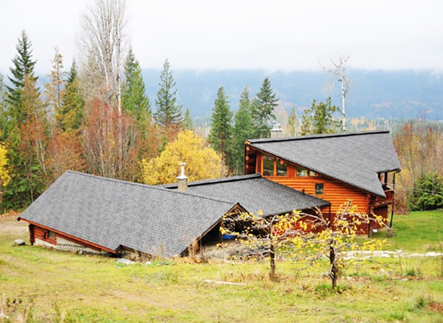 Roof Shingle colors to match weathered wood or log houses include brown, green, black, grey