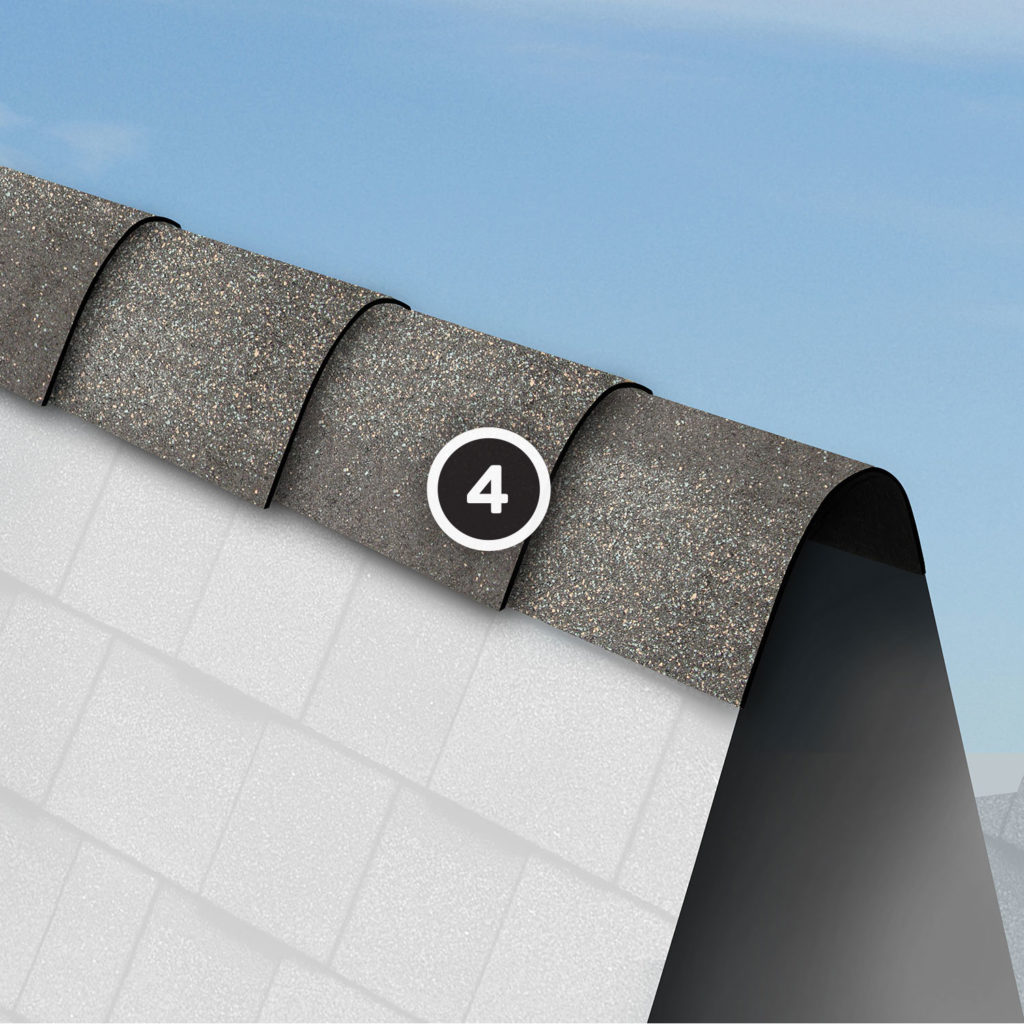 ridge cap shingles installed on a simulated ridge