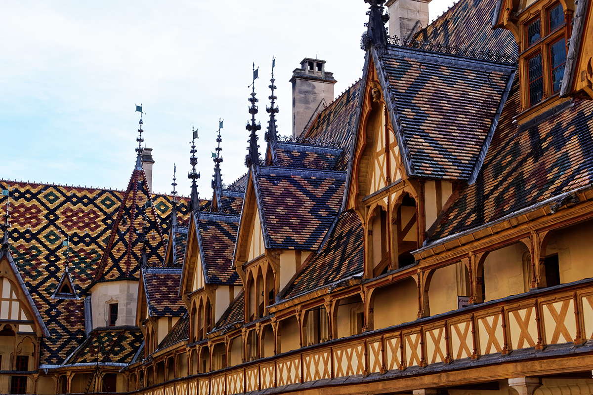 geometrical patterns on the roof of the Hospice de Beaune in France